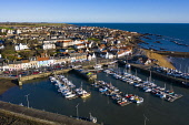 Aerial view from drone of Anstruther in the East Neuk of Fife, Scotland, UK Iain Masterton /Scottish Viewpoint Anstruther,Scotland,Scottish,drone image,aerial,from above,fishing village,coast,coastal,UK,united kingdom,travel,tourism,East neuk Fife,Fife,daytime,villages,scottish fishing village,harbour,Firth of