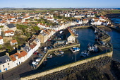 Aerial view from drone of Pittenweem fishing village in the East Neuk of Fife, Scotland, UK Iain Masterton /Scottish Viewpoint Pittenweem,Scotland,Scottish,drone image,aerial,from above,fishing village,coast,coastal,UK,united kingdom,travel,tourism,East neuk Fife,Fife,daytime,villages,scottish fishing village,harbour,Firth of