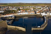 Aerial view from drone of St Monans fishing village in the East Neuk of Fife, Scotland, UK Iain Masterton /Scottish Viewpoint St Monans,Scotland,Scottish,drone image,aerial,from above,fishing village,coast,coastal,UK,united kingdom,travel,tourism,East neuk Fife,Fife,daytime,villages,scottish fishing village,harbour,Firth of