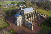 Aerial view of Rosslyn Chapel in Roslin village Midlothian, Scotland, UK Iain Masterton /Scottish Viewpoint Rosslyn Chapel Scotland,Roslin,Rosslyn Chapel,aerial,drone,from above,scottish culture,Scotland,Scottish church,curches,old,UK,united kingdom,britain,historical monument,travel,tourism,da vinci code m