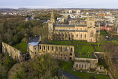 Aerial view of Dunfermlne Abbey and Palace,  Dunfermline, Fife, Scotland, UK Iain Masterton /Scottish Viewpoint Dunfermline abbey and palace,Dunfermline Abbey,Dunfermline Palace,Fife,Scotland,Scottish,drone image,aerial,from above,UK,United Kingdom,Britain,british,travel,tourism,historical monments,heritage qua