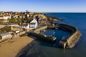 Aerial view from drone of Crail historic fishing village in the East Neuk of Fife, Scotland, UK Iain Masterton /Scottish Viewpoint Crail,Scotland,Scottish,drone image,aerial,from above,fishing village,coast,coastal,UK,united kingdom,travel,tourism,East neuk Fife,Fife,daytime,villages,scottish fishing village,harbour,Firth of Fort