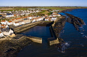 Aerial view of village from drone of  of Cellardyke fishing village in the East Neuk of Fife, Scotland, UK Iain Masterton /Scottish Viewpoint Cellardyke,Scotland,Scottish,drone image,aerial,from above,fishing village,coast,coastal,UK,united kingdom,travel,tourism,East neuk Fife,Fife,daytime,villages,scottish fishing village,harbour,Firth of