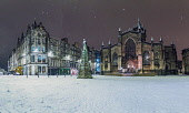 View of Parliament Square and St Giles Cathedral in the Old Town of Edinburgh after snow fall in winter, Scotland UK Iain Masterton /Scottish Viewpoint Scotland,Scottish,edinburgh,city centre,UK,United kingdom,britain,british,snow,weather,winter,night,snowfall,cold weather,wintry,parliament square edinburgh,edinburgh old town,edinburgh in the snow,St