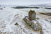 Aerial view of Smailholm Tower near Kelso in the Scottish Borders during winter snow, Scotland, UK Iain Masterton /Scottish Viewpoint Scotland,Scottish,Smailholm Tower,snow,winter,wintry,aerial,drone image,UK,united Kingdom,britain,british,weather,cold,snowfall,in the snow,exterior,travel,scottish borders,landmark,winter weather uk,