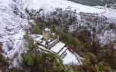 Aerial view of Castle Campbell in the snow, Dollar, Clackmannanshire, Scotland. UK Iain Masterton /Scottish Viewpoint Castle Campbell Dollar Scotland,Castle Campbell scotland,Clackmannashire,scotland Castle Campbell,Scottish castle,castles,aerial view,from above,drone view,winter,snow covered,snow,wintry,UK,United Ki
