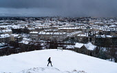 View  of snow covered rooftops in Leith viewed from Calton Hill, Edinburgh, Scotland, UK Iain Masterton /Scottish Viewpoint Scotland,Scottish city,Edinburgh winter weather,snow,wnowing,snowfall,UK,United Kingdom,Britain,British,morning,cold weather,wintry,city centre,cityscape edinburgh,edinburgh skyline,view from Calton H