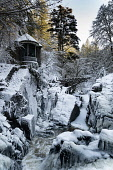 Winter view in thick snow of OssianÕs Hall overlooking the Black Linn Falls on the River Braan at The Hermitage forest near Dunkeld in Perthshire. Iain Masterton /Scottish Viewpoint Scotland,Scottish,The Hermitage,ossians hall,ossianÕs hall,river braan hermitage,Black Linn Falls,winter,snow,wintry,weather,cold,snow covered,in the snow,The Hermitage in Winter,UK,United Kingdom,br