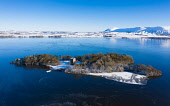 Aerial view of a snow covered Loch Leven Castle situated on small island on Loch Leven, Kinross-shire, Scotland, UK Iain Masterton /Scottish Viewpoint Scotland,Scottish,loch leven,snow,winter,Loch leven castle,wintry,aerial,drone image,uk,United Kingdom,britain,british,from above,Scottish castle,in winter,snow covered,scottish loch in winter,kinross