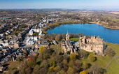 Aerial view of Linlithgow Palace, St MichaelsÕs Parish Church beside Linlithgow Loch in West Lothian, Scotland, Uk Iain Masterton /Scottish Viewpoint Linlithgow,Linlithgow Palace,Linlithgow Palace Scotland,Scotland Linlithgow Palace,St MichaelÕs parish Church,Linlithgow loch,Scotland,Scottish,West Lothian,aerial view,from drone,birds eye view,from