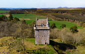Aerial view of Fatlips Castle, or Minto Castle, a peel tower in Roxburghshire, in the Scottish Borders, Scotland, UK Iain Masterton /Scottish Viewpoint Fatlips Castle,Minto Castle,Scotland,Scottish castle,Scottish Borders,daytime,aerial view,from the air,from above,from drone,UK,united Kingdom,britain,british,Europe,travel,tourism,landmark,Roxburghsh