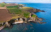 Aerial view of Tantallon Castle on cliffs above Firth of Forth in East Lothian, Scotland, UK Iain Masterton /Scottish Viewpoint Tantallon Castle Scotland,Scotland Tantallon Castle,East lothian,scotland,Scottish Castle,aerial view,aerial photography,drone image,historical monument,scottish culture,scottish heritage,travel,touri