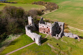 Aerial view of Hailes Castle beside River Tyne in East Lothian, Scotland, UK Iain Masterton /Scottish Viewpoint Hailes Castle Scotland,Scotland Hailes Castle,East lothian,scotland,Scottish Castle,aerial view,aerial photography,drone image,historical monument,from above,scottish culture,scottish heritage,travel,