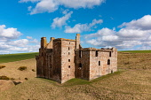 Aerial view of Crichton Castle in Crichton in Midothian, Scotland, UK Iain Masterton /Scottish Viewpoint Crichton Castle Scotland,Scotland Crichton Castle,Midlothian,scotland,Scottish Castle,aerial view,aerial photography,drone image,historical monument,from above,scottish culture,scottish heritage,trave