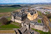 Aerial view from drone of Stirling Castle in Stirling, Scotland, UK Iain Masterton /Scottish Viewpoint Stirling Castle,Stirling Castle Scotland,Scotland,from the air,aerial view,from drone,looking down,UK,united kingdom,Britain,british,Europe,European,travel,tourism,tourist destination,attraction,Scott