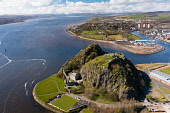 Aerial view from drone of Dumbarton Castle (closed during Covid-19 lockdown) on Dumbarton Rock beside River Clyde, Scotland, UK Iain Masterton /Scottish Viewpoint Dumbarton Castle,Dumbarton Castle Scotland,Dumbarton,Dumbarton Rock,River Clyde Scotland,Scotland,aerial view,from drone,from above,birds eye view,from the air,high angle viewpoint,daytime,no person,U