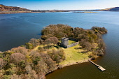 Aerial view from drone of Lochleven Castle ( closed during covid-19 lockdown) on island on Loch Leven, Perth and Kinross, Scotland, UK Iain Masterton /Scottish Viewpoint Lochleven Castle Scotland,Scotland,Lochleven Castle,Loch Leven Scotland,Scottish castle,castles,Perth and kinross,UK,United Kingdom,Britain,British,Europe,European,historical monument,scottish culture