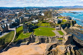 Aerial view from drone of St Andrews town and St Andrews Castle, Fife, Scotland, UK and Iain Masterton /Scottish Viewpoint St Andrews,Scotland,scottish town,St Andrews Scotland,St Andrews Castle,St Andrews Fife,UK,united Kingdom,Britain,coastline,coastal,british,Fife Scotland,Europe,day,from above,aerial view,from drone,b