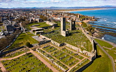 Aerial view from drone of St Andrews town and St Andrews Cathedral ruins, Fife, Scotland, UK and Iain Masterton /Scottish Viewpoint St Andrews,Scotland,scottish town,St Andrews Scotland,St Andrews Cathedral,St Andrews Fife,UK,united Kingdom,Britain,coastline,coastal,british,Fife Scotland,Europe,day,from above,aerial view,from dron