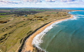 Aerial view from drone of Kingsbarns Golf Links, Fife, Scotland, UK Iain Masterton /Scottish Viewpoint Kingsbarns Golf Links,Kingsbarns golf Course,Scotland,Scottish Golf Course,Kingsbarns Fife,UK,united Kingdom,britain,british,daytime,aerial view,from drone,aerial photofrpahy,birds eye view,from above