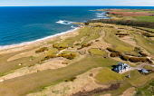 Aerial view from drone of Kingsbarns Golf Links, Fife, Scotland, UK Iain Masterton /Scottish Viewpoint Kingsbarns Golf Links,Kingsbarns golf Course,Scotland,clubhouse,Scottish Golf Course,Kingsbarns Fife,UK,united Kingdom,britain,british,daytime,aerial view,from drone,aerial photofrpahy,birds eye view,