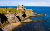 Aerial view of Tantallon Castle on sea cliffs coast in East Lothian Scotland UK Iain Masterton /Scottish Viewpoint Scotland,Scottish castle,Tantallon Castle,East Lothian,UK,United kingdom,Britain,british,coast coastal scenery,scottish culture,historic monument,daytime,drone view,from above,aerial photography,moinu