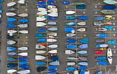 Sailing boats stored in rows on dry land during coronavirus lockdown at North Berwick harbour in East Lothian.Scotland, UK Iain Masterton /Scottish Viewpoint Scotland,Scottish,North Berwick,harbour,sailing boasts,East Lothian,UK,United Kingdom,Britain,British,town,towns,coast,coastal,from above,looking down,aerial,dinghies,many,symmetry,geometric pattern,a