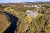 Aerial view of Doune Castle above River Teith near Doune, Stirling District, Central, Scotland, UK Iain Masterton /Scottish Viewpoint Doune Castle Scotland,Doune Scotland,Scottish CAstle,castles,UK,United Kingdom,britain,british,Europe,Scotland Doune Castle,European,daytime,nobody,aerial view,from above,drone image,tourism,tourist a