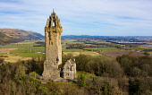 Aerial view of the National Wallace Monument  (closed during covid-19 lockdown0 , Stirling, Scotland , UK Iain Masterton /Scottish Viewpoint NAtional Wallace Monument Scotland Scotland Wallace Monument,Scotland,National Wallace monument,Wallace Monument Stirling,Uk,United Kingdom,britain,british,aerial view,from above,drone view,scottish m