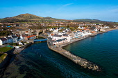 Aerial view of Lower Largo village on coast in Fife, in Scotland, UK Iain Masterton /Scottish Viewpoint Lower Largo Fife,Fife Lower Largo,Lower Largo Scotland,Scotland Lower Largo,daytime,village,coast,coastal village,UK,United Kingdom,britain,british,travel tourism,villages,seaside,nobody,sunshine,sunn